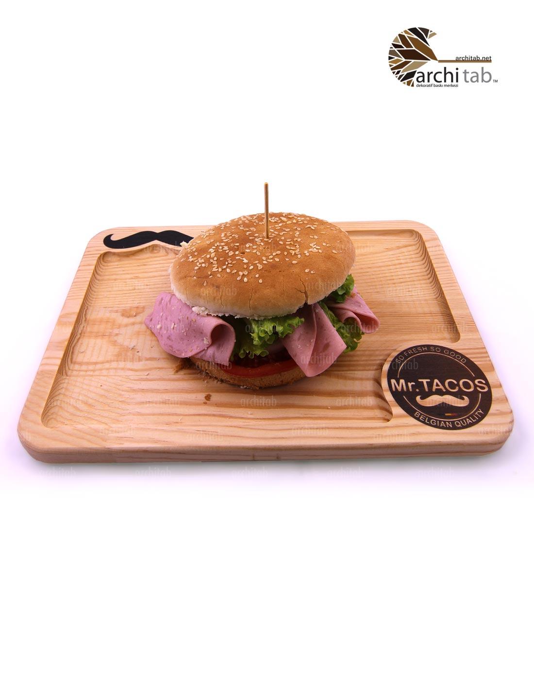 ahşap hamburger tepsisi