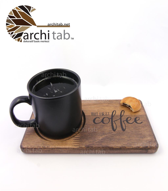 ahşap kahve sunum tabağı